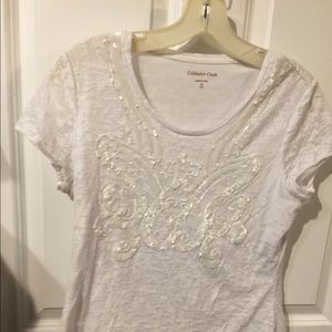 Cold water Creek white beaded cotton XS top.